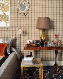One of my favorites: a beautifully dressed up wall in combination with an amazingly decorated wooden nightstand